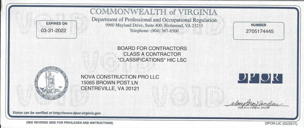 About Our Company | Licensed Class A contractor | Nova Construction Pro